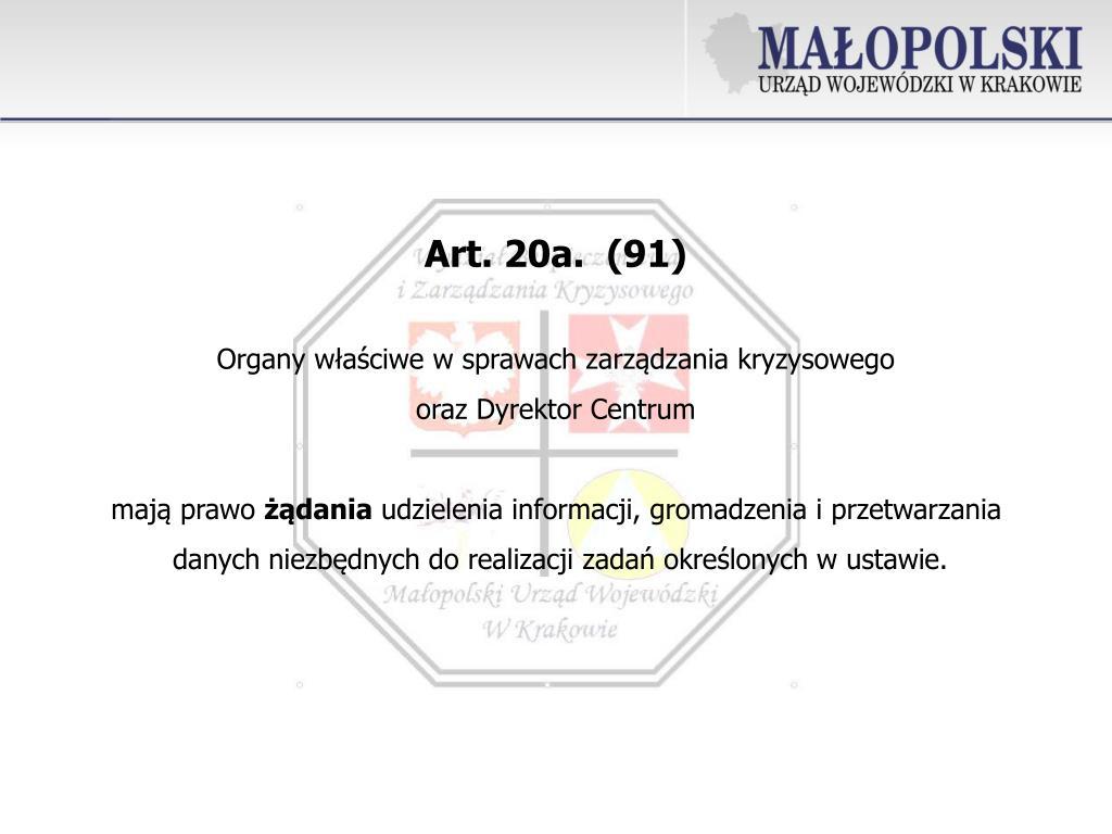 Art.20a. (91)
