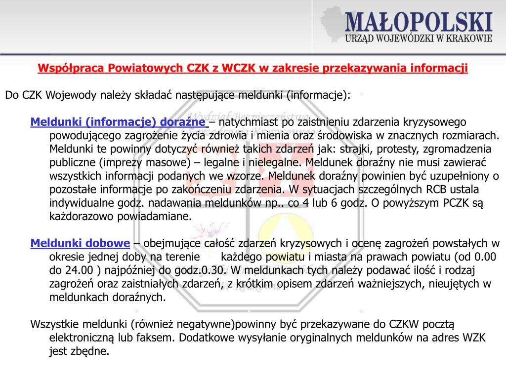 Współpraca Powiatowych CZK z WCZK w zakresie przekazywania informacji