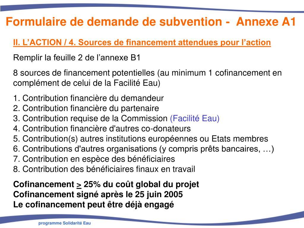 Formulaire de demande de subvention -  Annexe A1