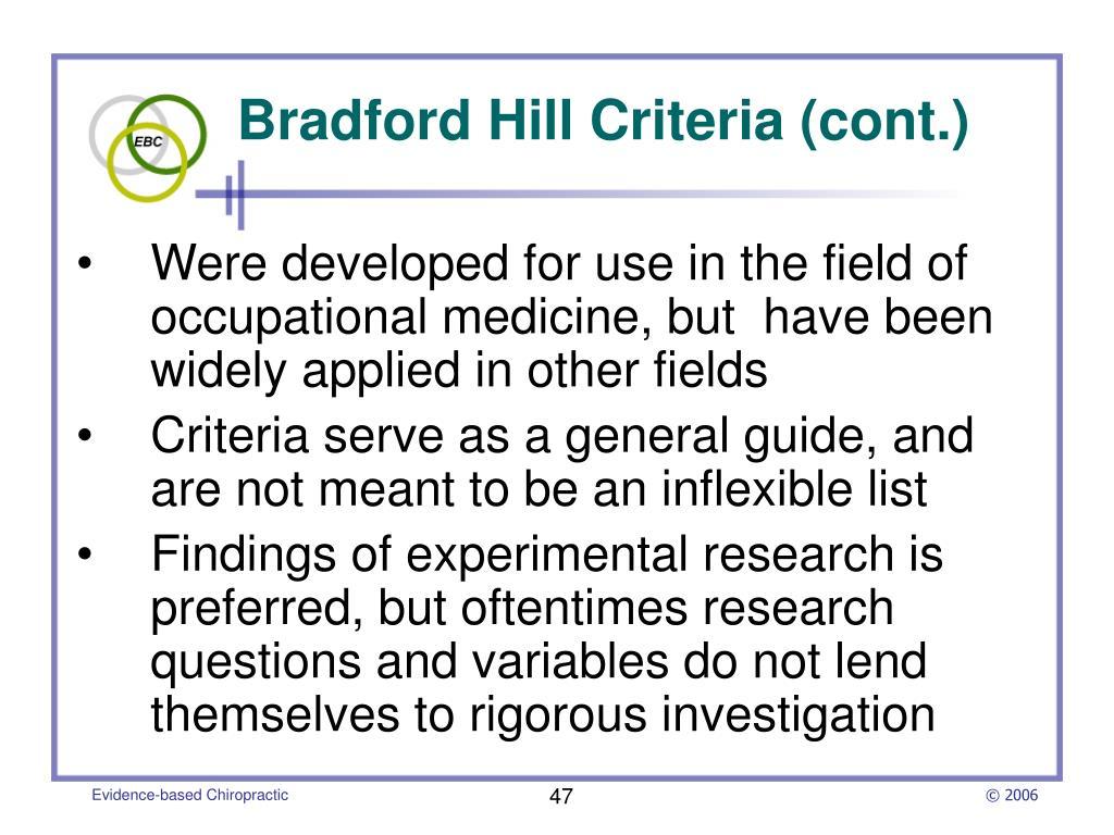 Bradford Hill Criteria (cont.)