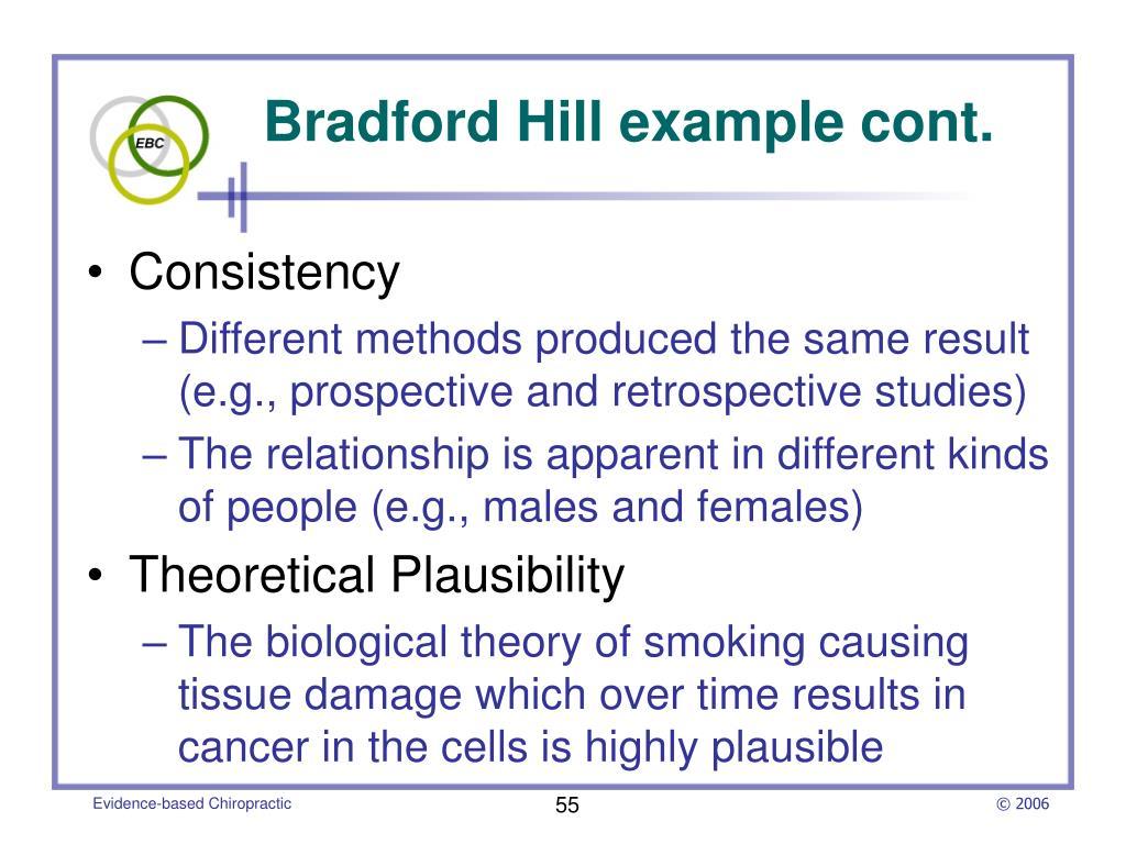 Bradford Hill example cont.