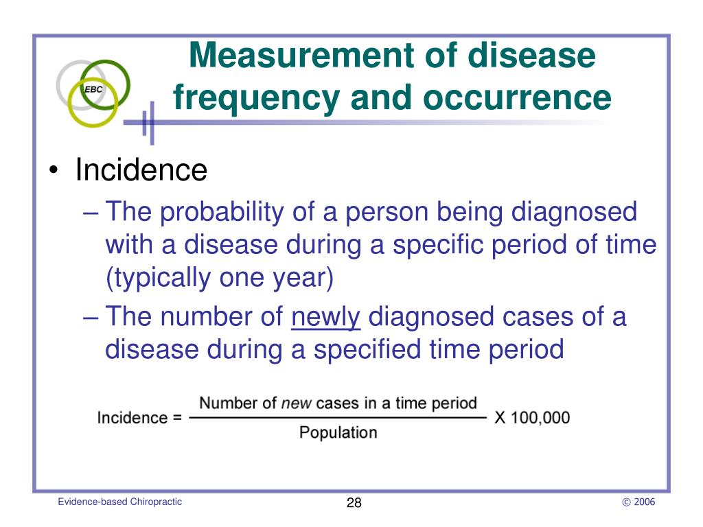 Measurement of disease frequency and occurrence