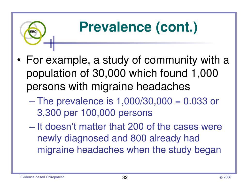 Prevalence (cont.)