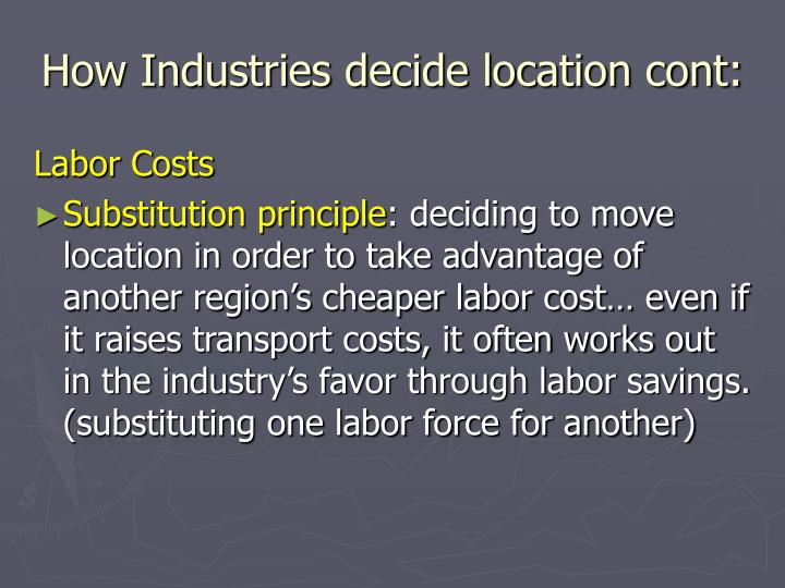 How industries decide location cont