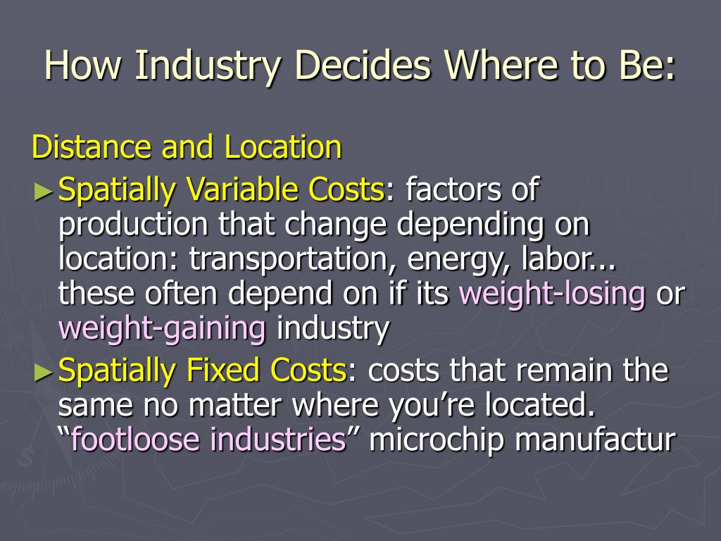 How Industry Decides Where to Be:
