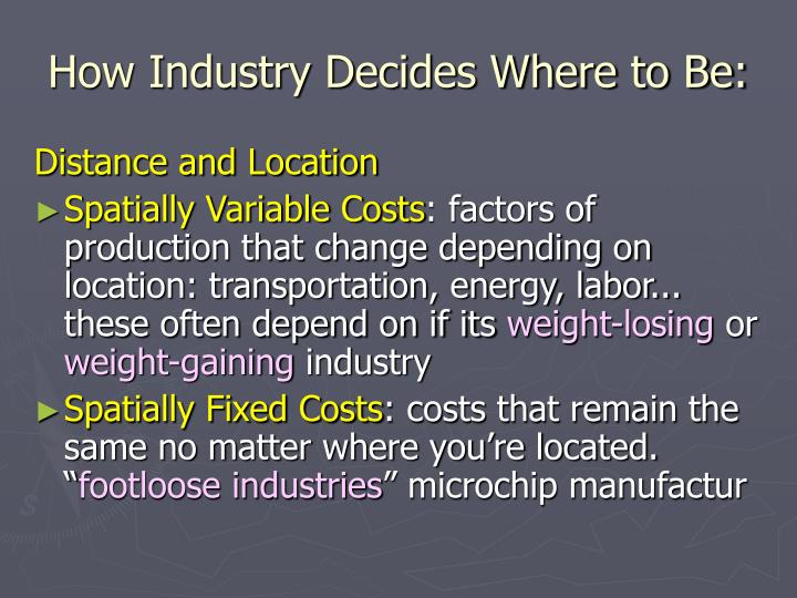 How industry decides where to be