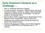 early american literature as a challenge7