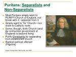 puritans separatists and non separatists