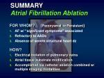 summary atrial fibrillation ablation