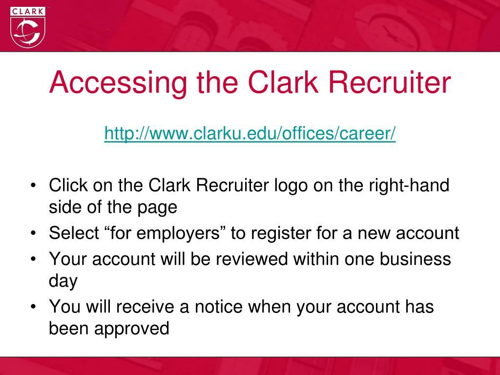 Accessing the Clark Recruiter