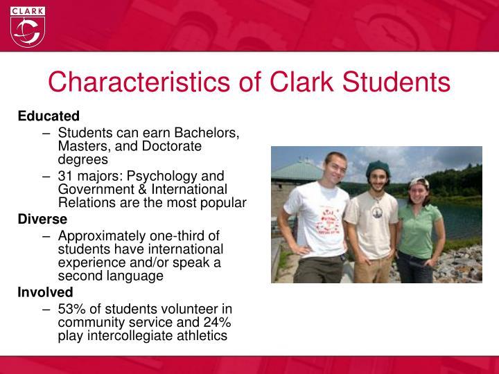 Characteristics of clark students