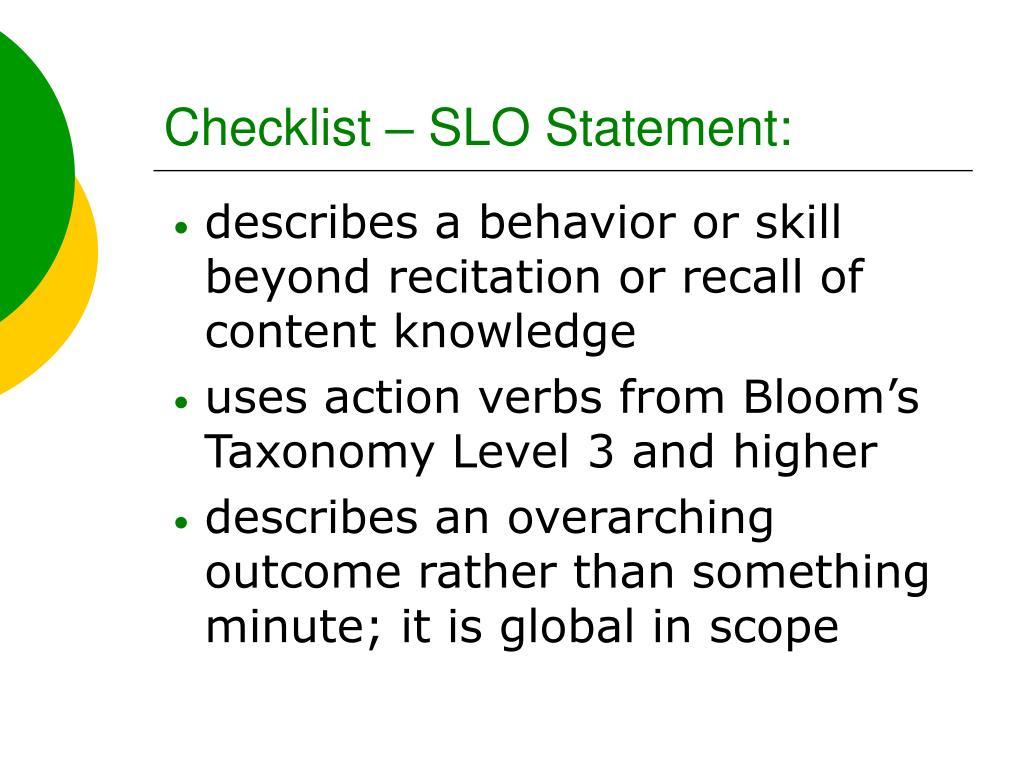 Checklist – SLO Statement: