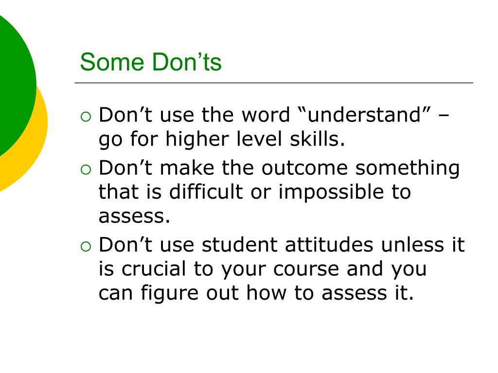 Some Don'ts