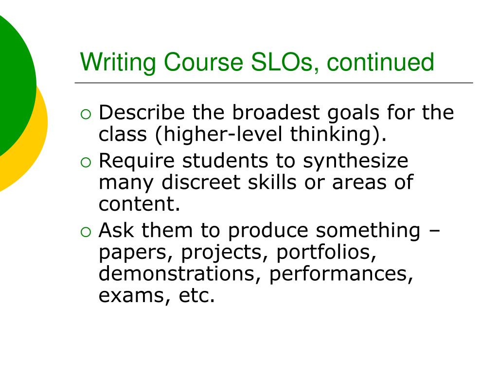 Writing Course SLOs, continued