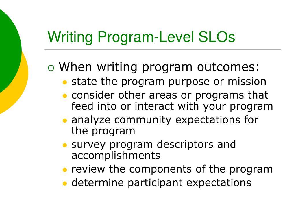 Writing Program-Level SLOs