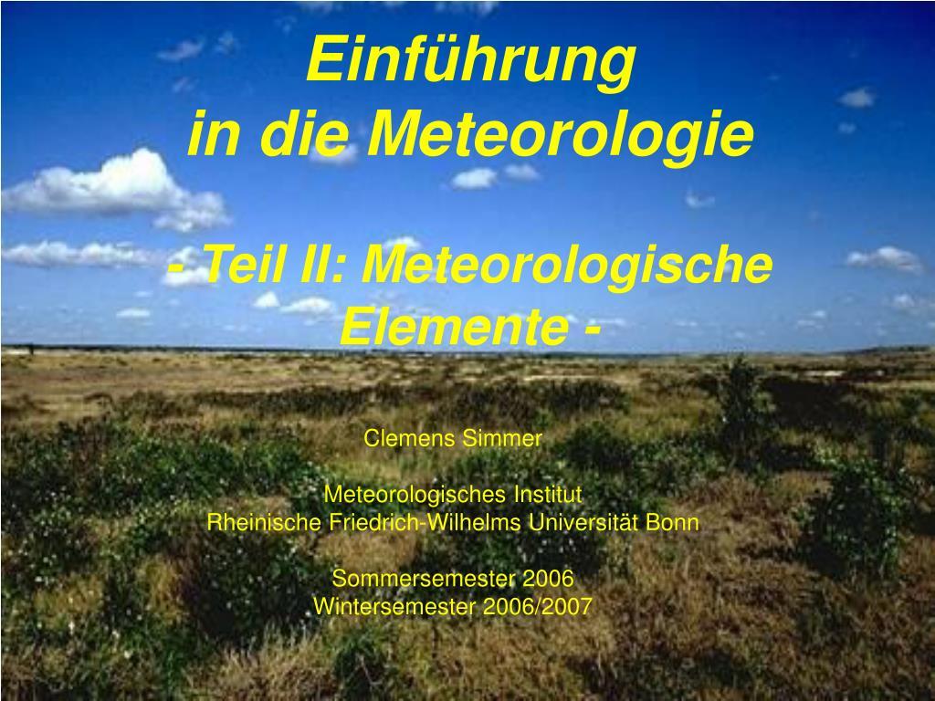 einf hrung in die meteorologie teil ii meteorologische elemente l.