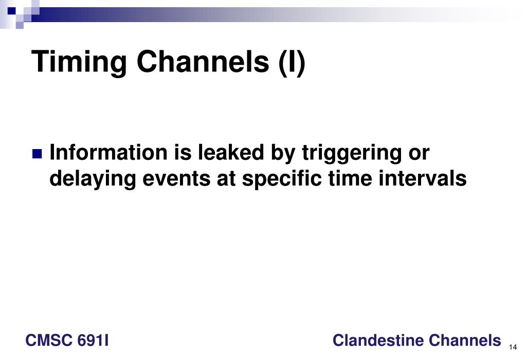 Timing Channels (I)