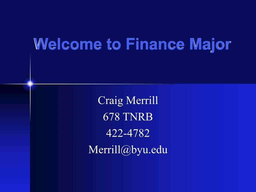 welcome to finance major l.