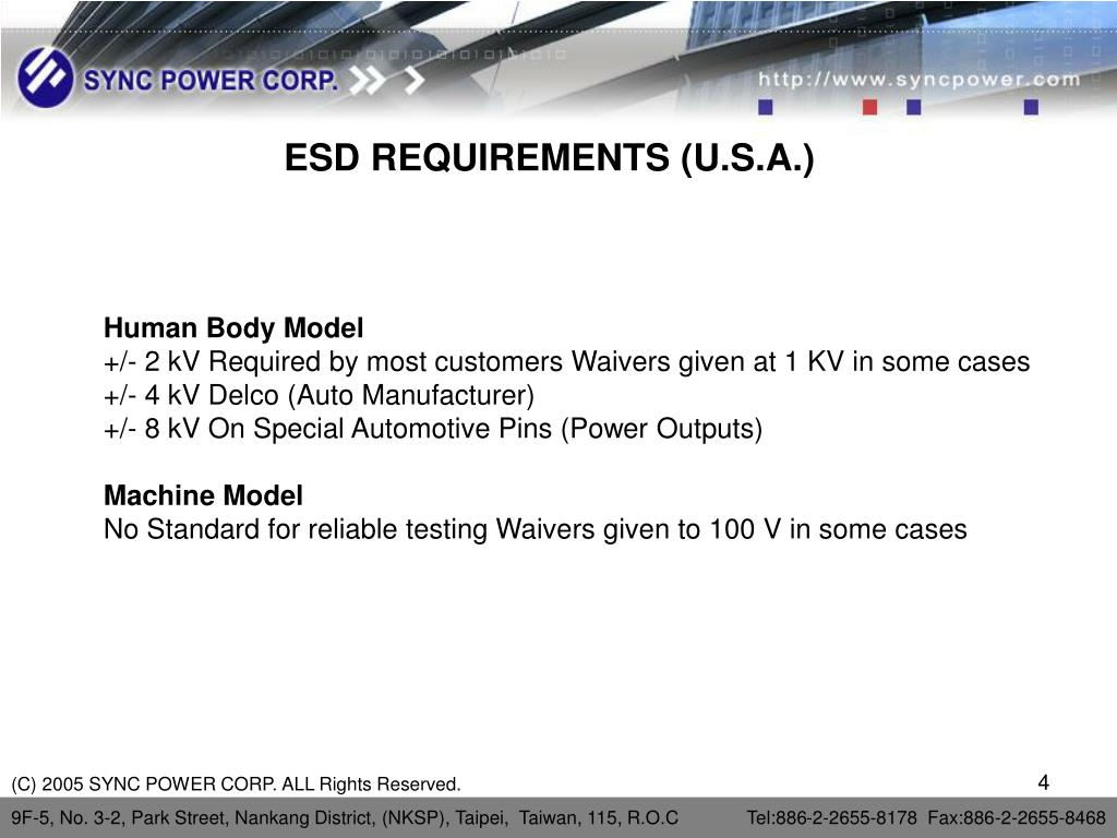 ESD REQUIREMENTS (U.S.A.)