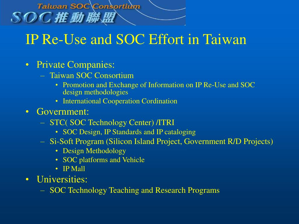 IP Re-Use and SOC Effort in Taiwan
