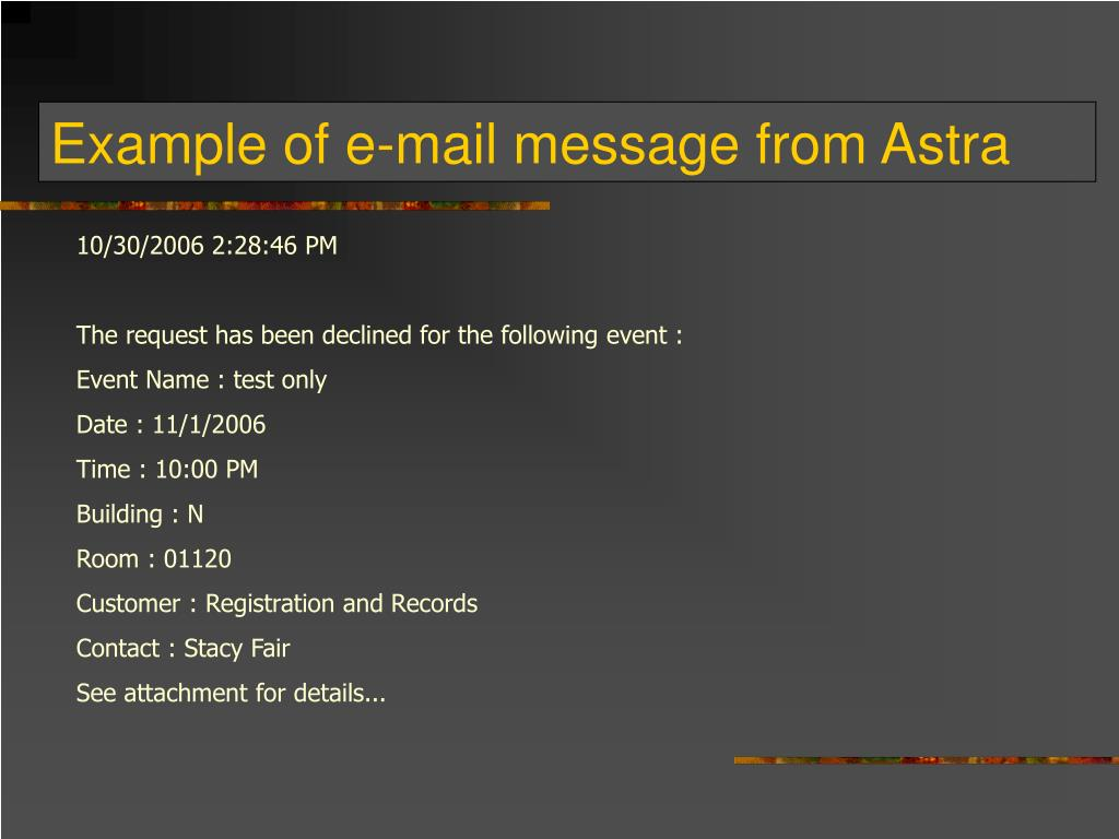 Example of e-mail message from Astra