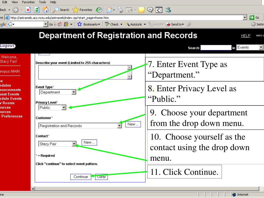 """7. Enter Event Type as """"Department."""""""