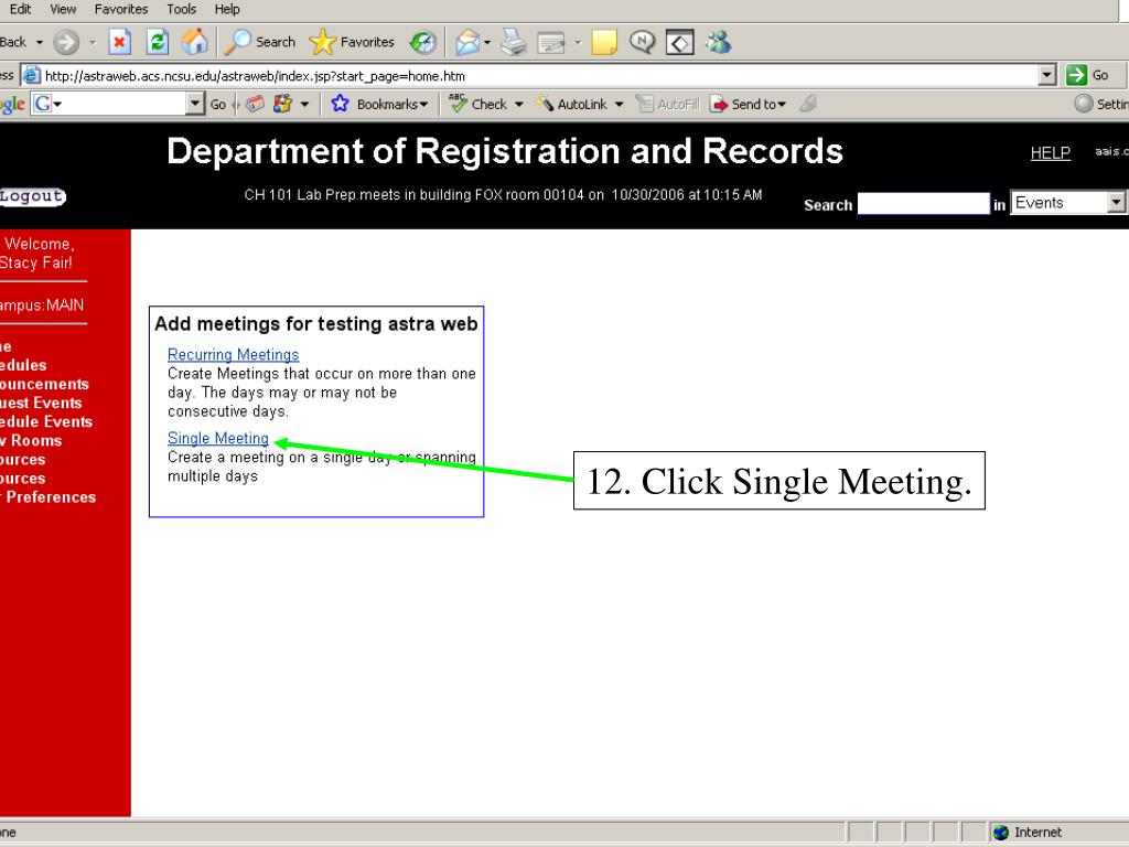12. Click Single Meeting.