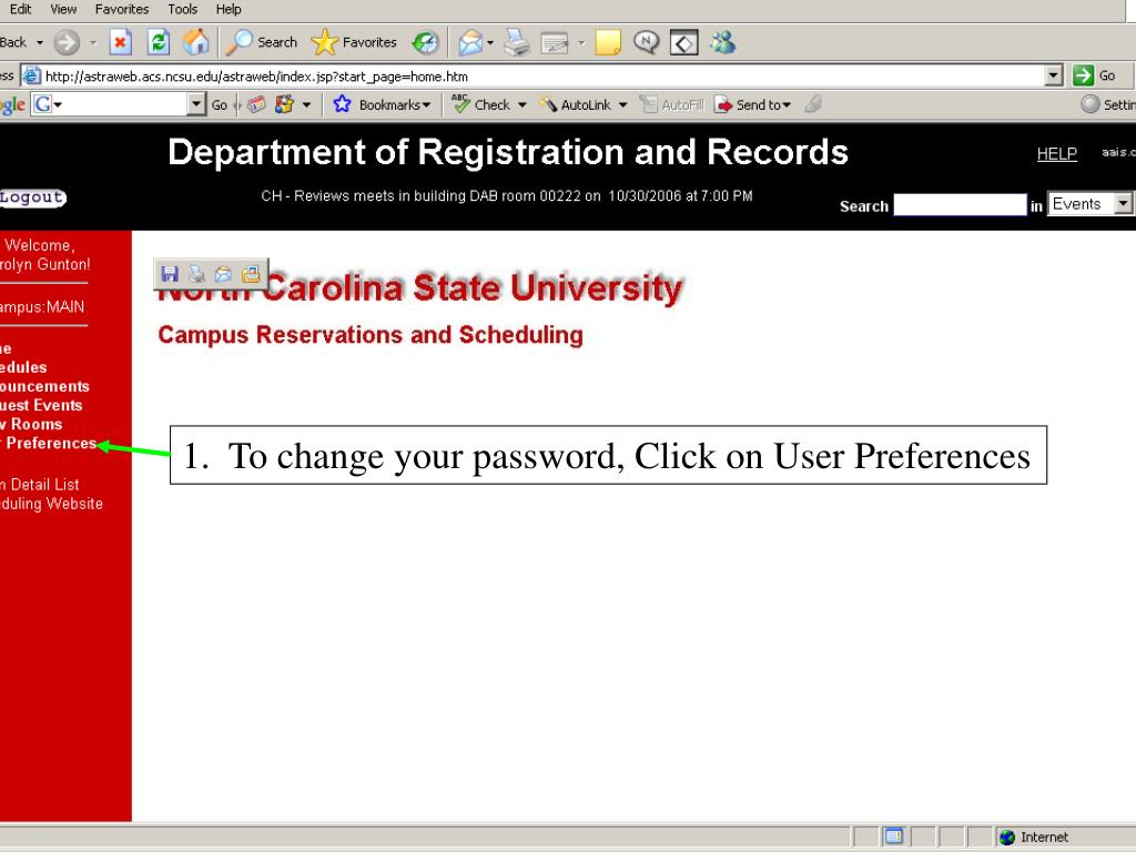 1.  To change your password, Click on User Preferences