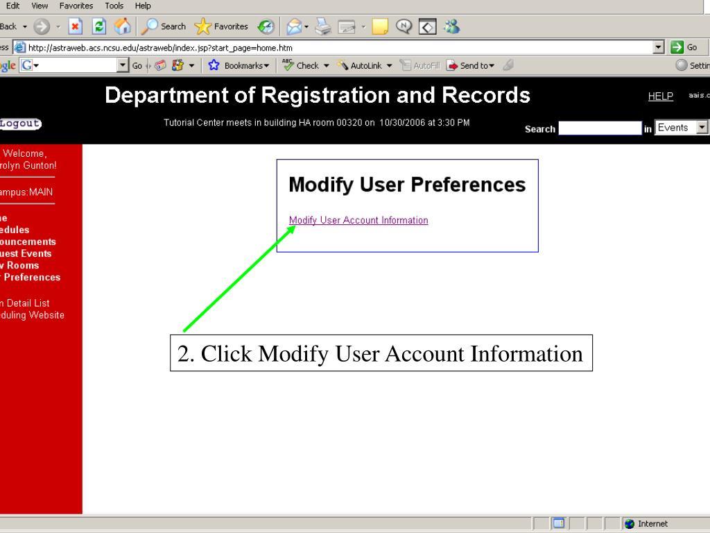 2. Click Modify User Account Information
