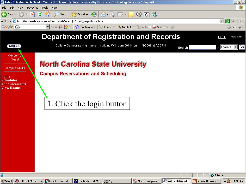 1. Click button to login