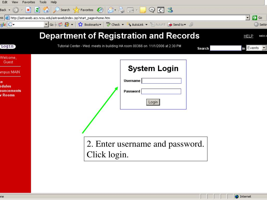 2. Enter username and password.