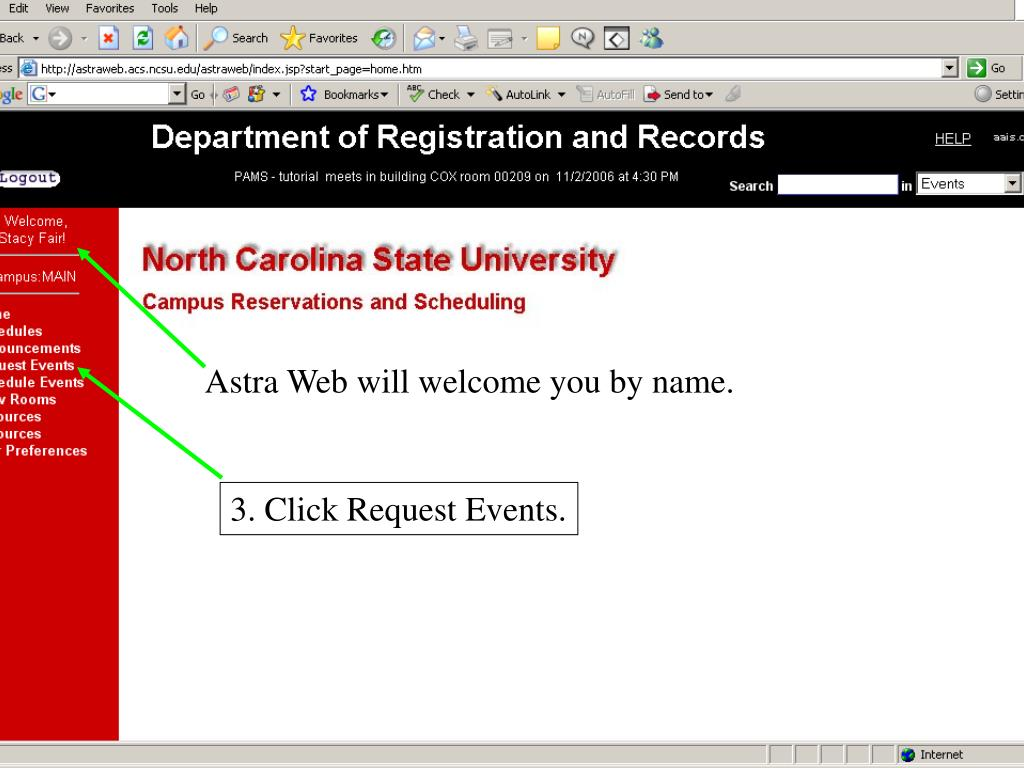 Astra Web will welcome you by name.