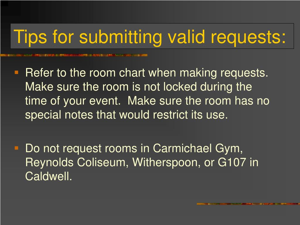 Tips for submitting valid requests: