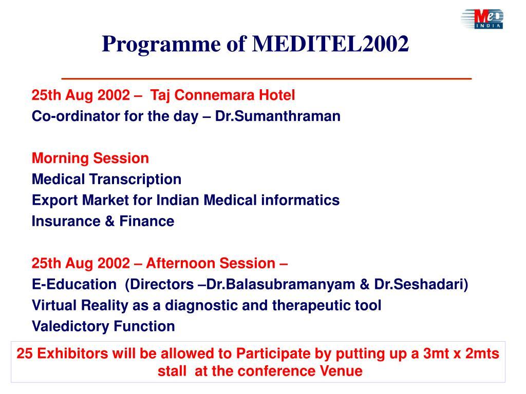 Programme of MEDITEL2002