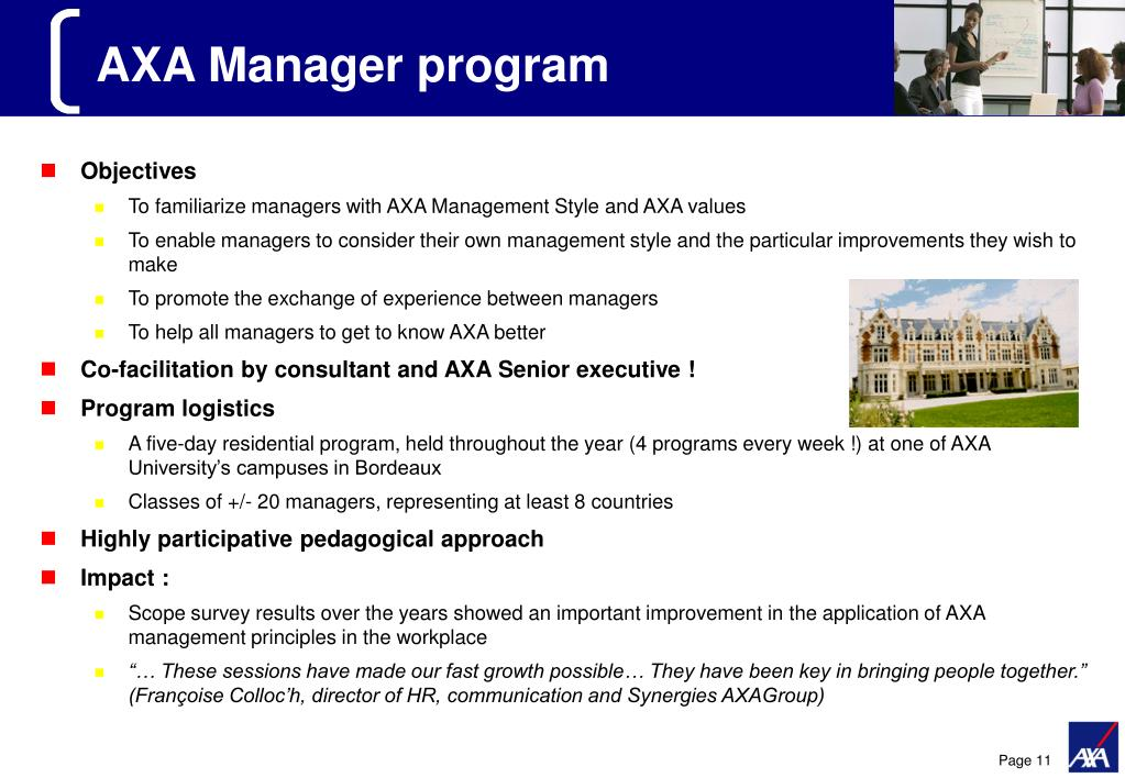 AXA Manager program