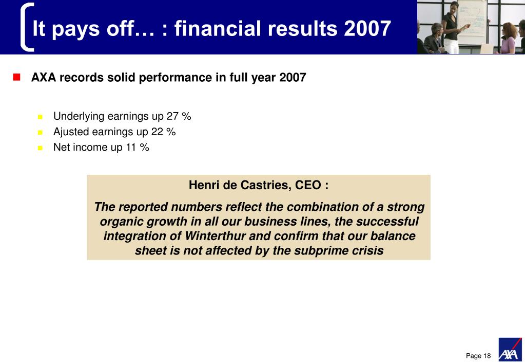 It pays off… : financial results 2007