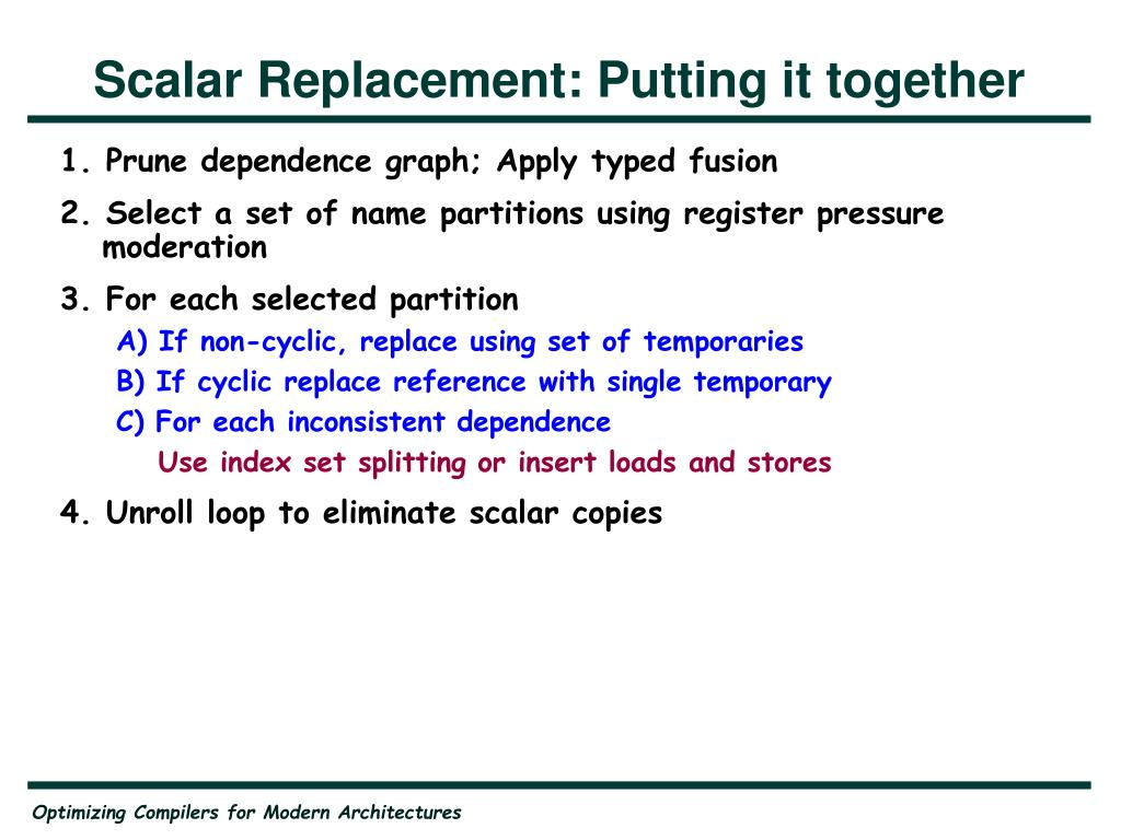 Scalar Replacement: Putting it together