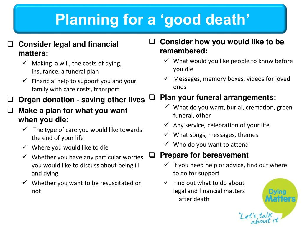 Planning for a 'good death'