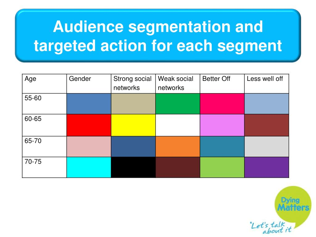 Audience segmentation and targeted action for each segment