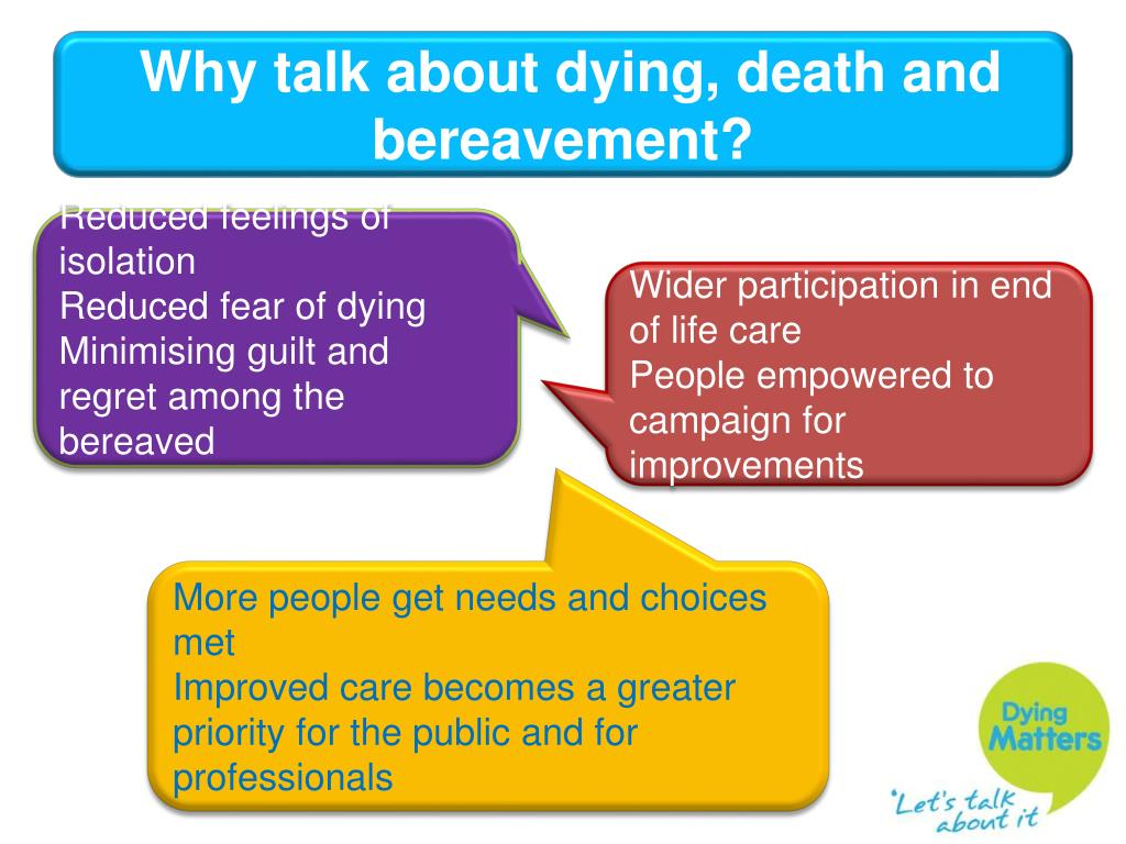 Why talk about dying, death and bereavement?