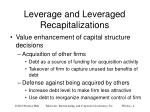 leverage and leveraged recapitalizations
