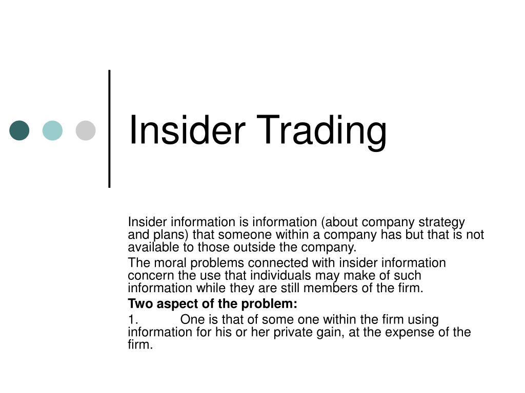 insider trade Insider trading 101 most traders and investors mistakenly think that insider trading is an illegal activity not only it is legal for insiders to trade the stock, they are required by law to make their security acquisitions and dispositions public by filing their trades with.