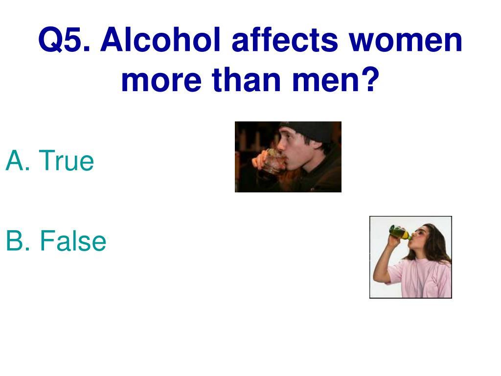 Q5. Alcohol affects women more than men?