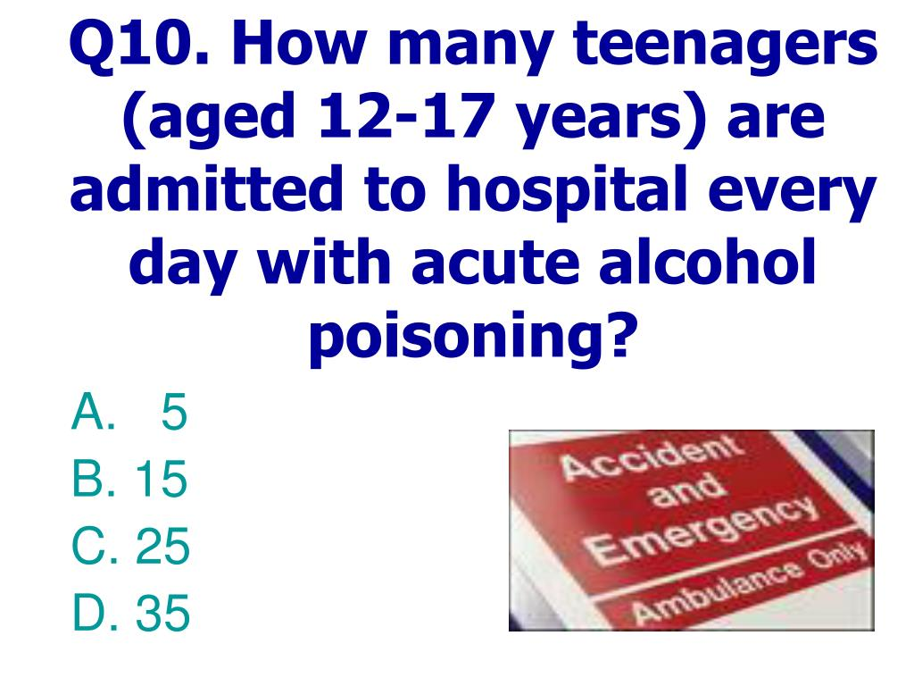 Q10. How many teenagers (aged 12-17 years) are admitted to hospital every day with acute alcohol poisoning?