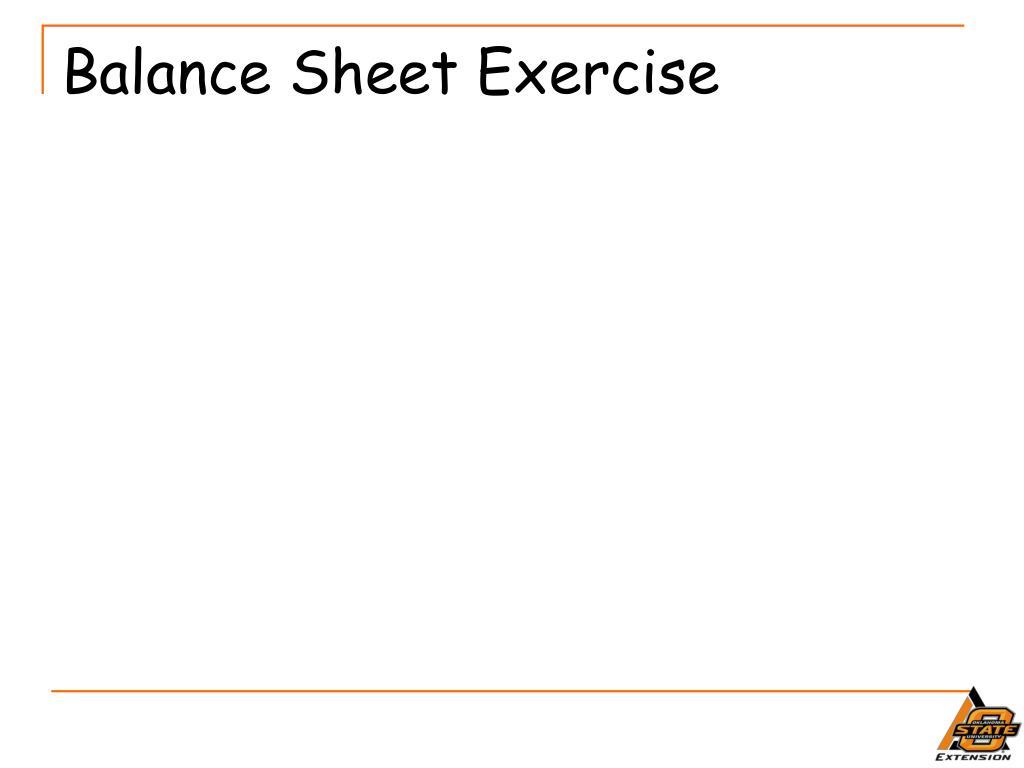 Balance Sheet Exercise