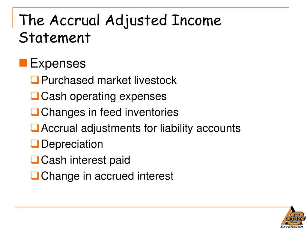 The Accrual Adjusted Income Statement