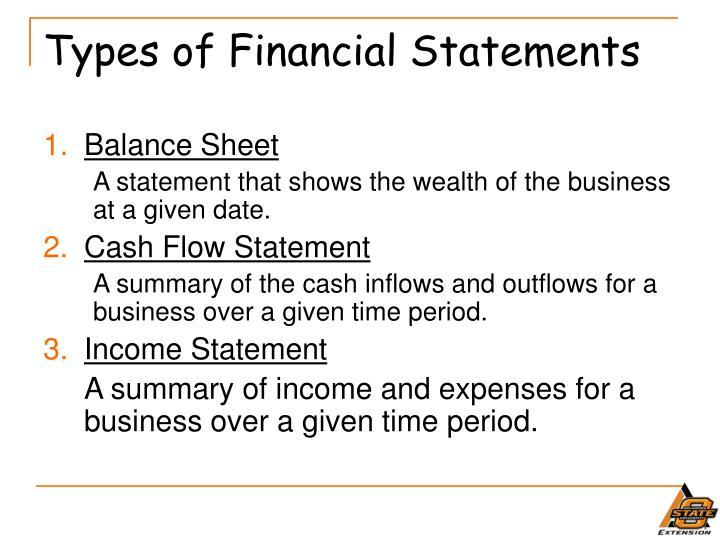 Financial Statement Types | Ppt Financial Statements Powerpoint Presentation Id 542047