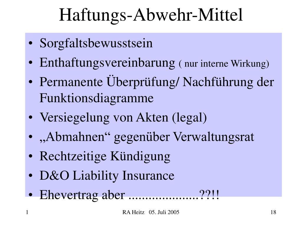 Haftungs-Abwehr-Mittel