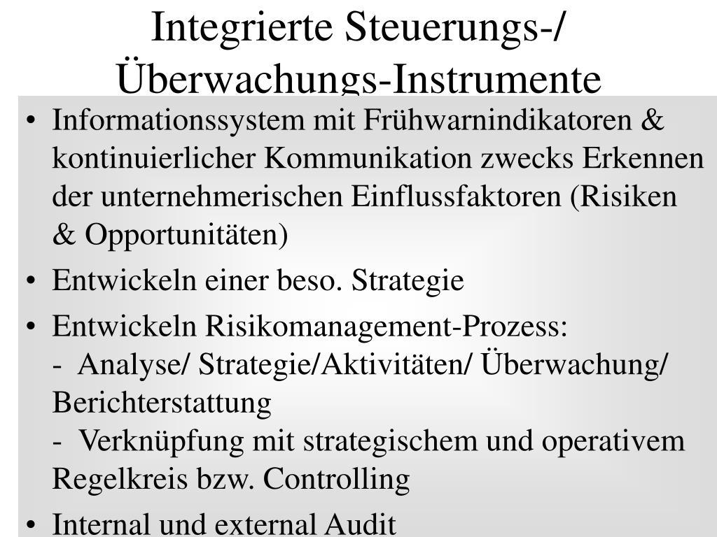 Integrierte Steuerungs-/ Überwachungs-Instrumente