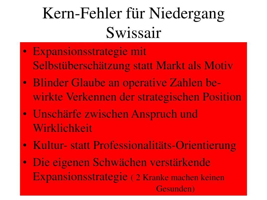 Kern-Fehler für Niedergang Swissair